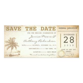 sparen de de palmkaartjes van het datumstrand - 10,2x23,5 uitnodiging kaart