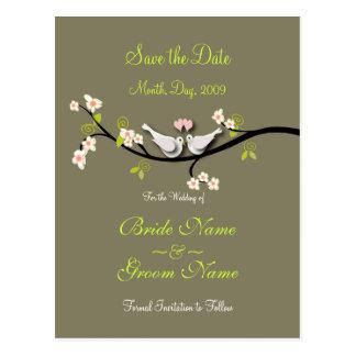 Sparen de duiven van de Datum+roze bloesems/diy Briefkaart