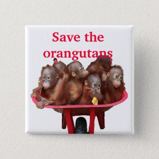 Sparen de Leuke Babys van Orangoetans Vierkante Button 5,1 Cm