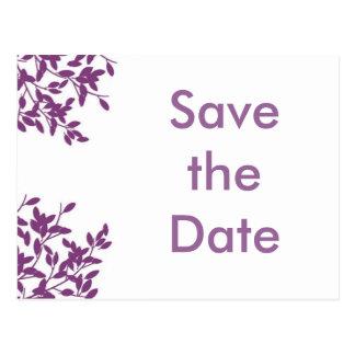 Sparen de paarse datum! briefkaart
