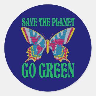 Sparen de Planeet ga Groen Ronde Sticker