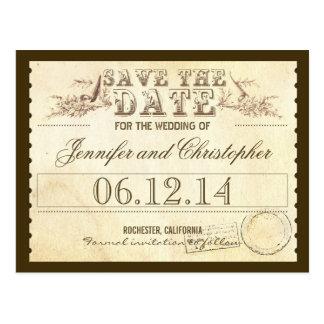 sparen de typografische kaart van datum oude briefkaart