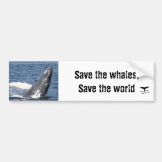 Sparen de walvissen, sparen de wereld bumpersticker