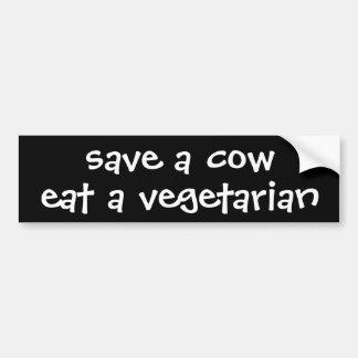 sparen een koe eet een vegetariër bumpersticker