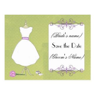 Sparen het datum-Elegante Bruids Briefkaart van de