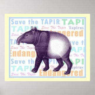Sparen het Poster van de Tapir - Aziatische Tapir