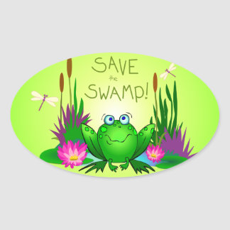 Sparen het Twitchy Moeras de Kikker Ovale Sticker