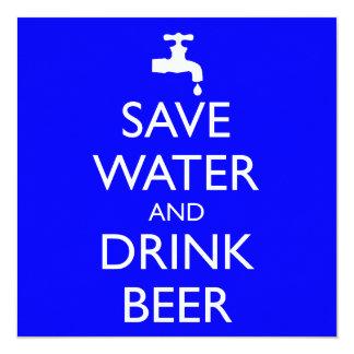 SPAREN WATER EN DRINK BIER 13,3X13,3 VIERKANTE UITNODIGING KAART