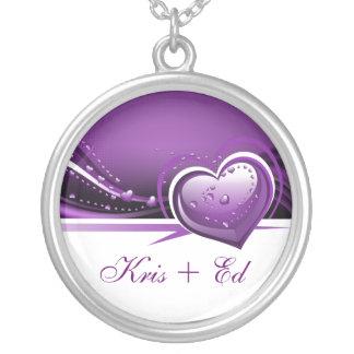 sparkly paarse harten zilver vergulden ketting