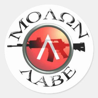 Spartaanse Shield/AR-15 Molon Labe Ronde Sticker