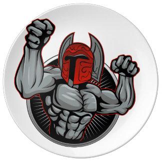 Spartaanse Trojan Mascotte Borden Van Porselein
