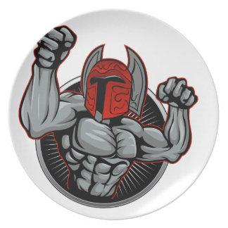 Spartaanse Trojan Mascotte Diner Borden