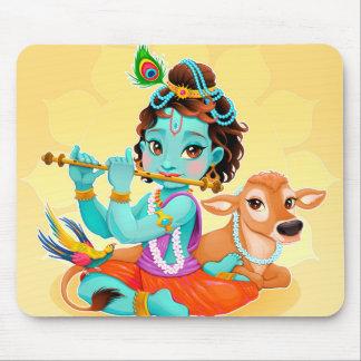 Speel de fluitillustratie van de God van Krishna Muismat