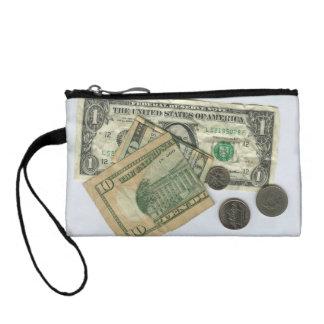 Speelse muntstukbeurs met dollars en centen portemonneetje