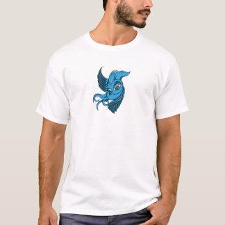 Speelse twee Gestemde Blauwe Vogel T Shirt