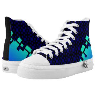 Spel! blauw pixel Hoog Topje High Top Schoenen