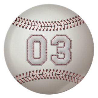 Speler Nummer 03 - de Koele Steken van het Honkbal Melamine+bord