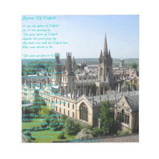 Spitsen van het gedicht van Oxford door: Winifried Notitieblok