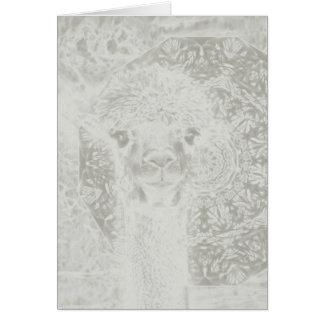 Spookachtige alpaca en mandala verticale kaart