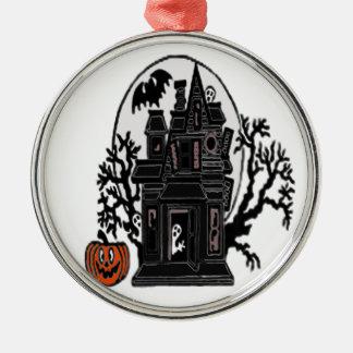 Spookhuis Zilverkleurig Rond Ornament
