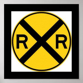 Spoorweg die Teken kruisen Poster