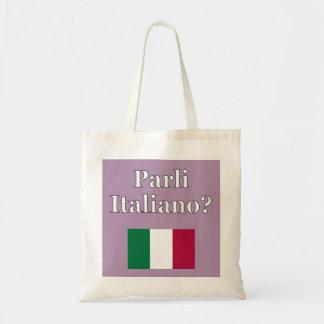 Spreekt u het Italiaans? in het Italiaans. Vlag Draagtas