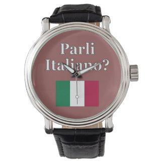 Spreekt u het Italiaans? in het Italiaans. Vlag Polshorloge