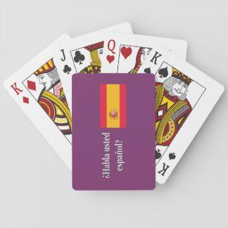 Spreekt u het Spaans? in het Spaans. Vlag wf Speelkaarten