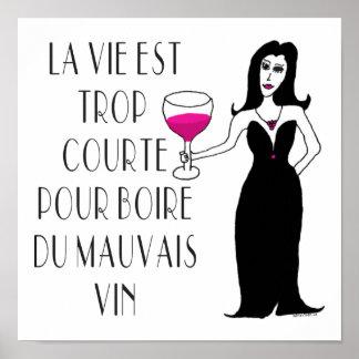 Spreuk van Vixen van de wijn Slechte Franse het Poster