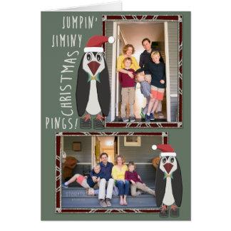 Springend de Gepersonaliseerde Foto's van Kerstmis Briefkaarten 0