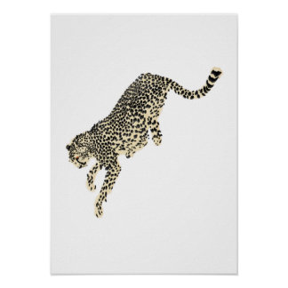 Springende Jachtluipaard Poster