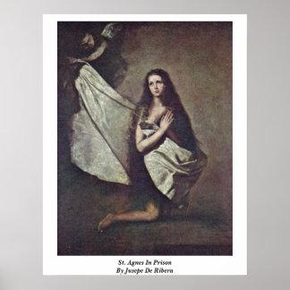 St. Agnes in Gevangenis door Jusepe DE Ribera Poster