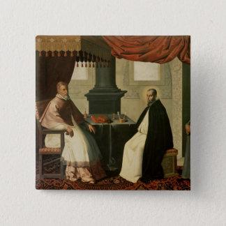 St. Bruno en Paus Urbanus II 1630-35 Vierkante Button 5,1 Cm
