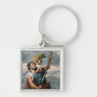 St. Christopher. .keychain Zilverkleurige Vierkante Sleutelhanger