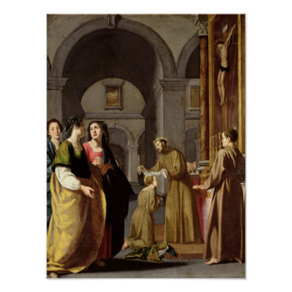 St. Clare die de Sluier van St. Francis ontvangen Poster