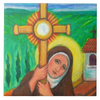 """St Clare van Assisi "" Tegeltje"