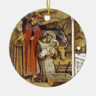 St Francis bij de Geboorte van Christus, overvalt  Rond Keramisch Ornament
