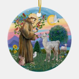 St Francis - de Lama van het Baby Rond Keramisch Ornament