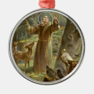 St. Francis die van Assisi aan de Dieren prediken Zilverkleurig Rond Ornament