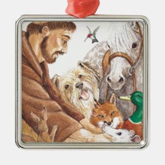 St. Francis & Dieren, pet, speld, keychain, Zilverkleurig Vierkant Ornament