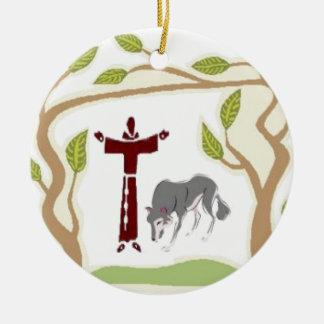 St. Francis en het stropdas van de Wolf, de Rond Keramisch Ornament