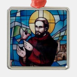 St Francis het Afbeelding van het Gebrandschilderd Zilverkleurig Vierkant Ornament
