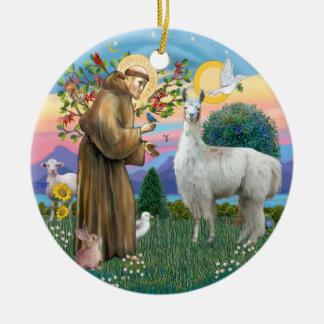 St Francis - Lama 12 Rond Keramisch Ornament