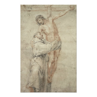 St. Francis Rejecting de Wereld en het Omhelzen Poster
