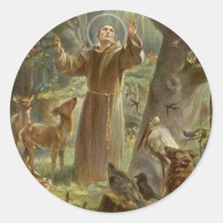 St. Francis van Assisi dat door Dieren wordt Ronde Sticker