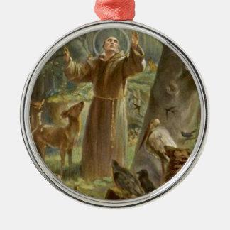 St. Francis van Assisi dat door Dieren wordt Zilverkleurig Rond Ornament