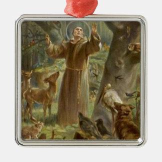 St. Francis van Assisi dat door Dieren wordt Zilverkleurig Vierkant Ornament