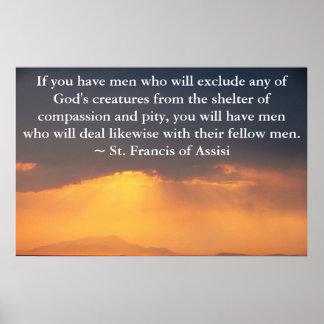 St. Francis van het citaat van Assisi over Dierlij Poster