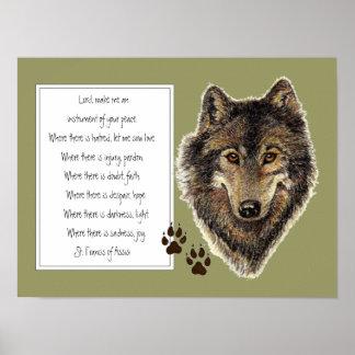 St. Francis van het Gebed van Assisi met Wolf & Sp Poster