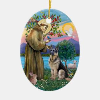 St Francis (w) - Duitse herder (c) Keramisch Ovaal Ornament